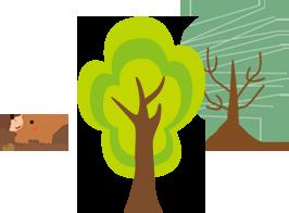 もぐら と木のイラスト